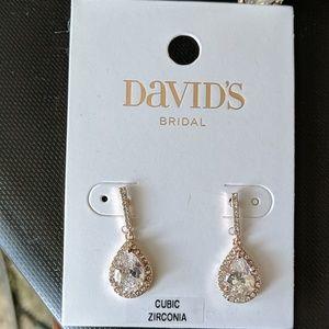 NWT Rose Gold CZ Drop Earrings